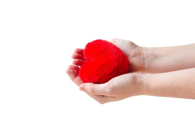 Cuore rosso nelle mani della donna isolato su sfondo bianco