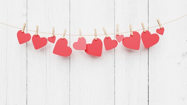 Cuori rossi sulla corda con mollette, su uno sfondo di legno bianco. concetto di illustrazione 3d di amore e di san valentino. posto per testo, copia spazio. simbolo di amore su sfondo blu dolce, biglietto di auguri