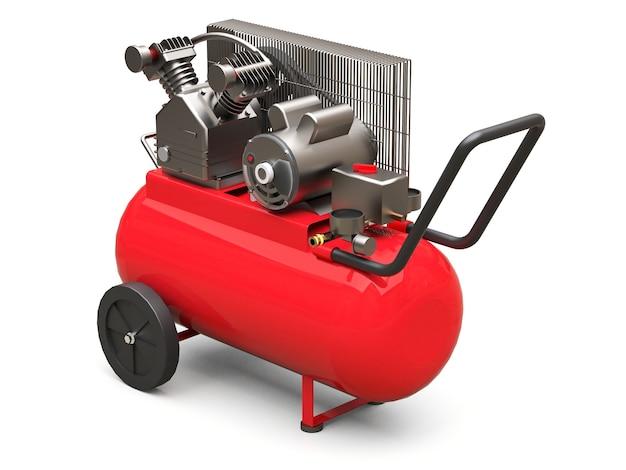 Compressore d'aria orizzontale rosso isolato su una superficie bianca
