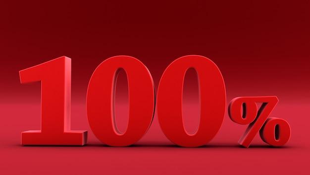 Red cento per cento su uno sfondo rosso. rendering 3d. 100%