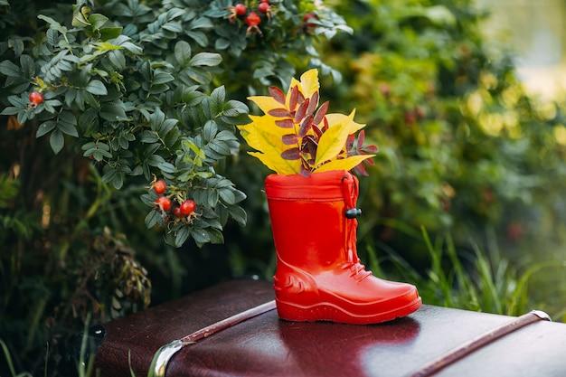 Stivali di gomma rossi per bambini con foglie gialle all'interno rimangono sulla valigia vintage