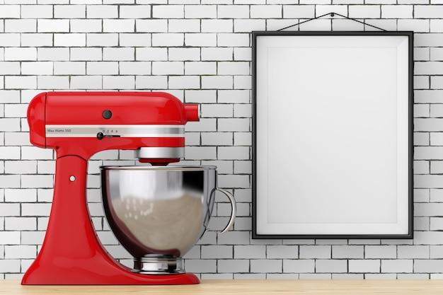 Red kitchen stand food mixer davanti al muro di mattoni con primo piano estremo cornice vuota. rendering 3d