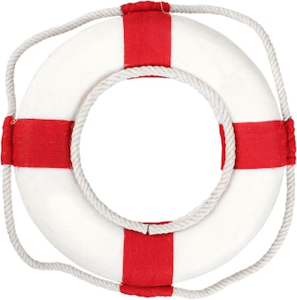 Salvagente rosso isolato su sfondo bianco
