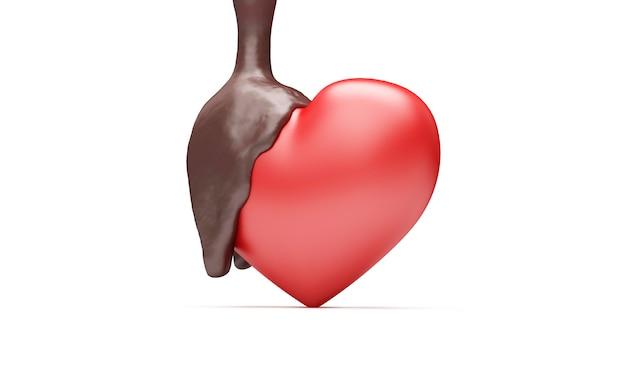 Red love heart versato con cioccolato al latte su sfondo bianco