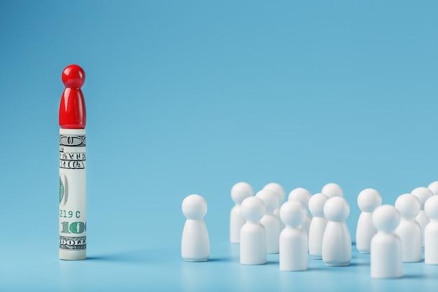 Un uomo rosso sta in piedi in dollari e gestisce una folla di bianchi. il concetto di potere avido e gestione delle persone.