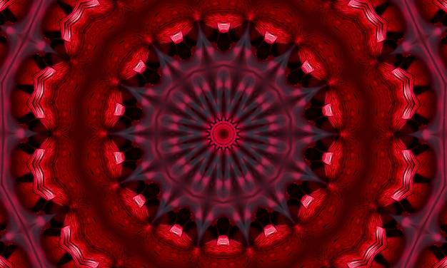 Centro del caleidoscopio del fiore concentrico della mandala rossa. modello di progettazione caleidoscopico.