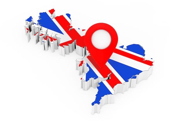 Perno rosso del puntatore della mappa sopra la mappa del regno unito con la bandiera su un fondo bianco. rendering 3d