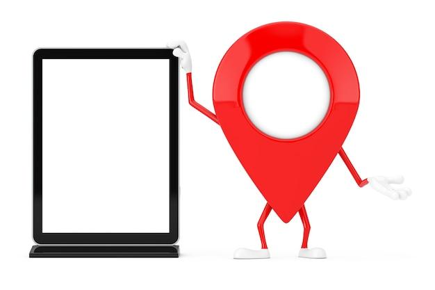 Rosso mappa puntatore bersaglio pin mascotte di carattere con vuoto fiera commerciale schermo lcd espositore come modello per il tuo design su uno sfondo bianco. rendering 3d