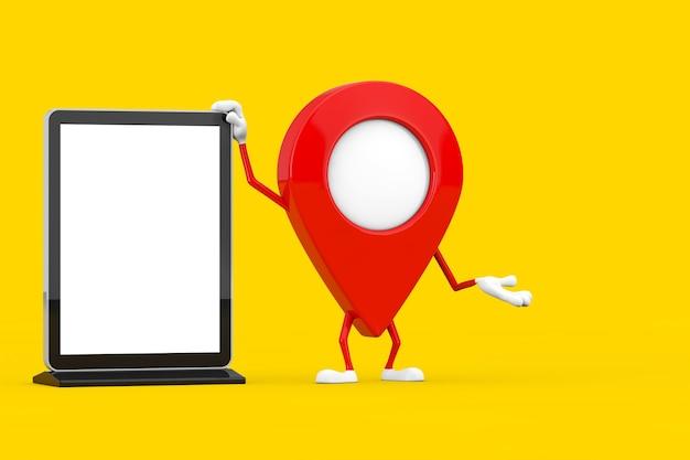 Rosso mappa puntatore bersaglio pin mascotte personaggio con vuoto fiera commerciale schermo lcd espositore come modello per il tuo design su uno sfondo giallo. rendering 3d