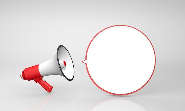 Il megafono rosso urla con una bolla rotonda. rendering 3d.