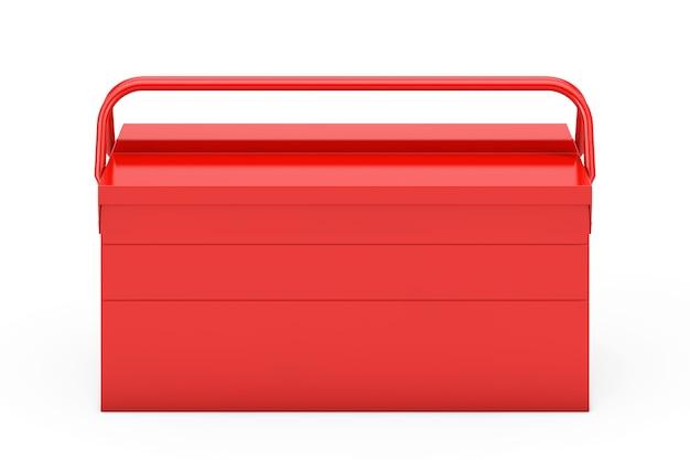 Casella degli strumenti classica in metallo rosso su sfondo bianco. rendering 3d
