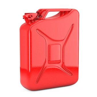Tanica rossa in metallo con spazio libero per il tuo design su sfondo bianco. rendering 3d