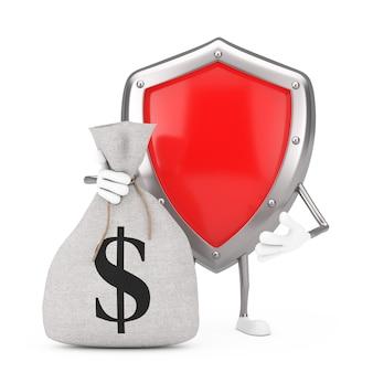 Mascotte del carattere dello scudo di protezione del metallo rosso e sacco dei soldi della tela di tela rustica legato o sacchetto dei soldi con il segno del dollaro su un fondo bianco. rendering 3d