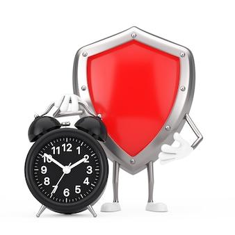 Mascotte rossa del carattere dello schermo di protezione del metallo con la sveglia su un fondo bianco. rendering 3d