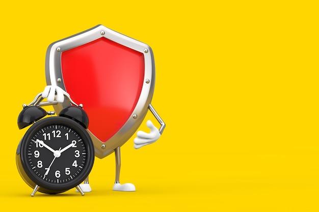 Mascotte rossa del carattere dello schermo di protezione del metallo con la sveglia su un fondo giallo. rendering 3d