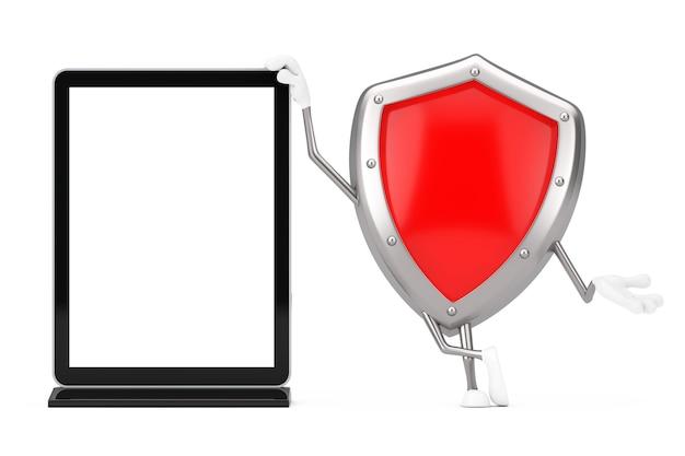 Mascotte rossa del carattere dello schermo di protezione del metallo con il supporto in bianco dello schermo lcd della fiera commerciale come modello per il vostro disegno su un fondo bianco. rendering 3d