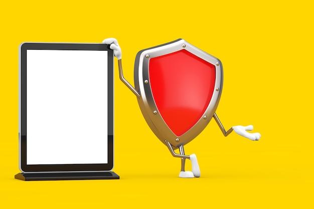 Mascotte del carattere dello scudo di protezione del metallo rosso con lo schermo lcd vuoto della fiera commerciale come modello per il vostro disegno su un fondo giallo. rendering 3d
