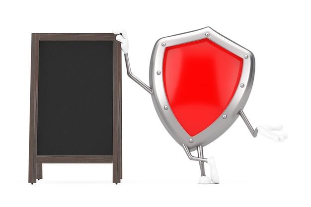 Mascotte rossa del carattere dello schermo di protezione del metallo con l'esposizione all'aperto delle lavagne di legno in bianco del menu su un fondo bianco. rendering 3d
