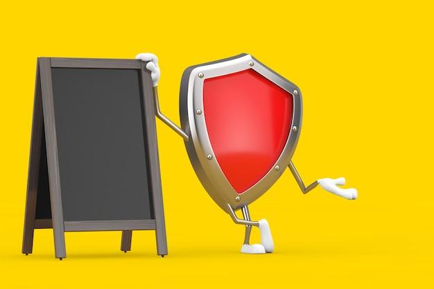 Mascotte rossa del carattere dello scudo di protezione del metallo con l'esposizione all'aperto delle lavagne di legno vuote del menu su un fondo giallo. rendering 3d