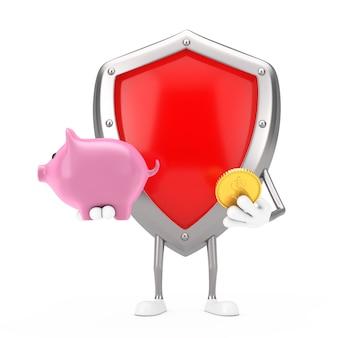 Mascotte rossa del carattere dello schermo di protezione del metallo con il porcellino salvadanaio e la moneta dorata del dollaro su un fondo bianco. rendering 3d