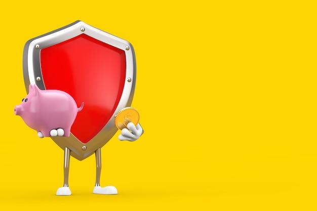 Mascotte di carattere scudo di protezione in metallo rosso con salvadanaio e moneta da un dollaro d'oro su sfondo giallo. rendering 3d