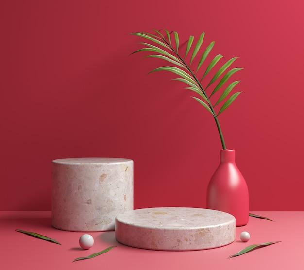 Podio rosso della piattaforma di pietra del mockup con il rendering 3d delle foglie di palma