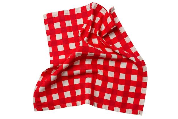 Tovagliolo rosso isolato su sfondo bianco. copia spazio.