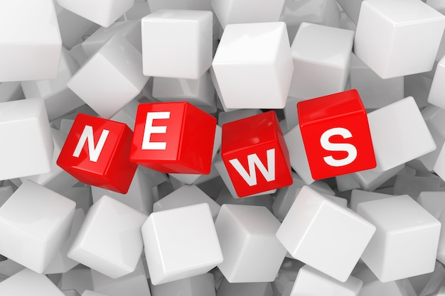 Cubi rossi di notizie in primo piano estremo di mucchio di cubi in bianco bianchi. rendering 3d