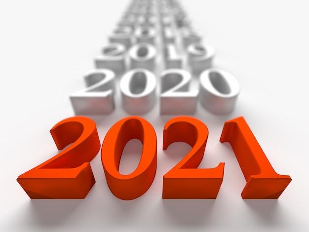 Numero rosso del nuovo anno 2021 vicino ai vecchi anni. rendering 3d