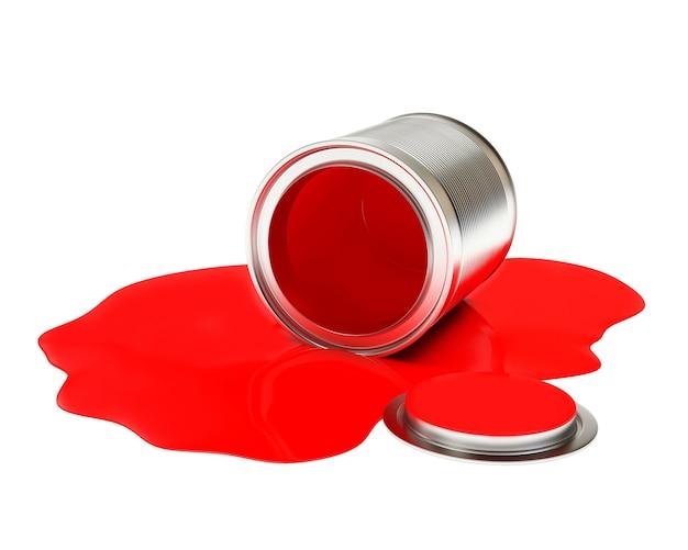 Vernice rossa fuoriuscita da una lattina aperta