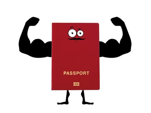 Passaporto rosso con le mani disegnate a mano di un bodybuilder
