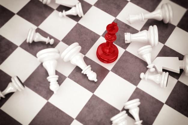 Gli scacchi del pedone rosso vince contro i pedoni bianchi