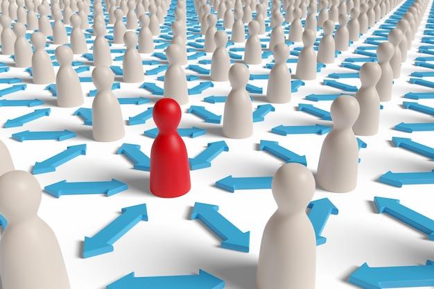 Figura di pedone rosso circondata da pedine bianche separate da frecce. messa a fuoco selettiva. concetto di allontanamento sociale. illustrazione 3d.