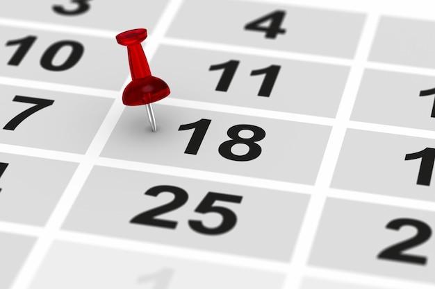 Perno rosso che segna giorno importante sul calendario. illustrazione 3d