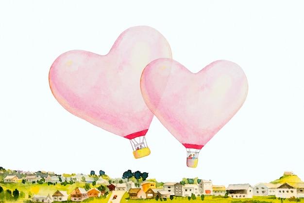L'aerostato di aria calda del cuore rosa rosso è disposto sul villaggio e sull'illustrazione bianca di disegno della pittura dell'acquerello del fondo