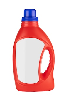 Bottiglia di contenitore detergente in plastica rossa mock up con spazio vuoto per il tuo design su sfondo bianco
