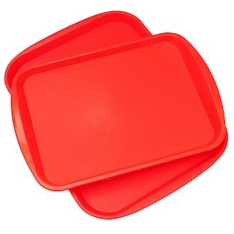 Vassoio in plastica rosso.