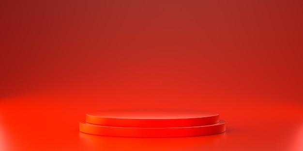 Piattaforma rossa per mostrare il prodotto. rendering 3d