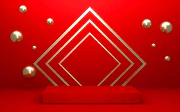 Il podio rosso geometrico per la presentazione del prodotto. rendering 3d