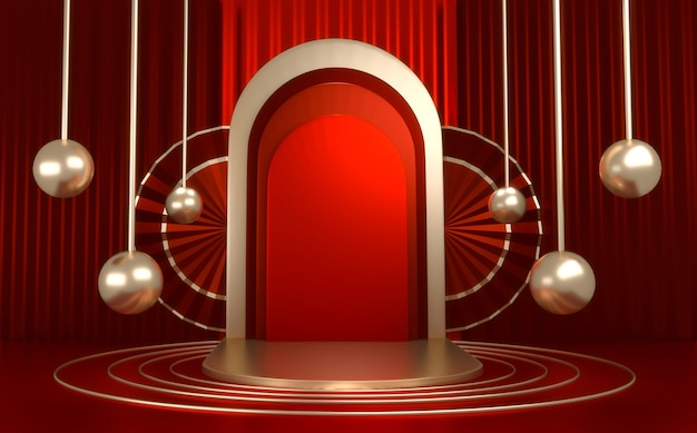 Il red podium minimal geometrico