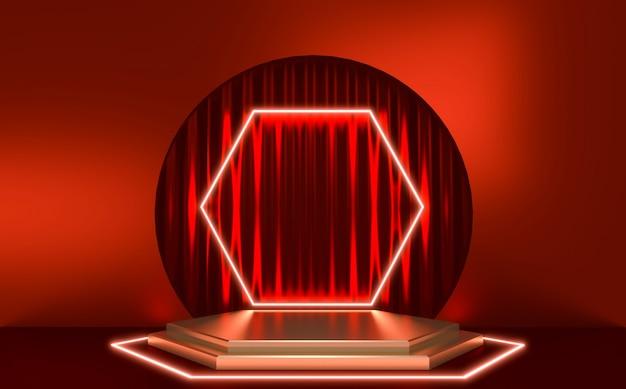 Podio rosso, design geometrico rosso minimo. rendering 3d