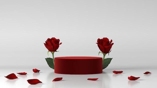 Podio rosso per l'inserimento di prodotti decorato con rosa
