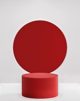 Podio rosso su sfondo bianco per il posizionamento del prodotto 3d rendering