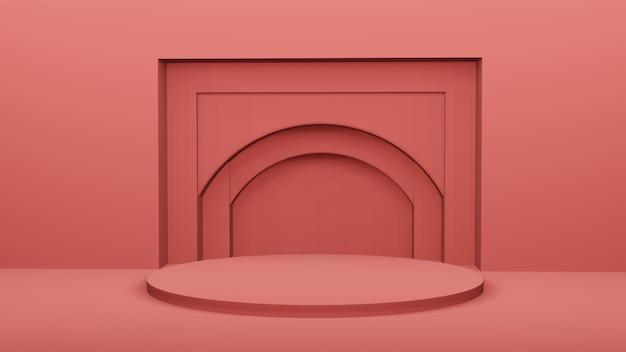 Podio rosso con arco geometrico sul muro