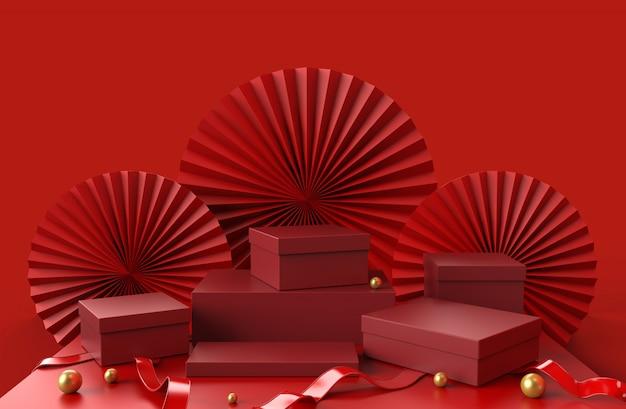 Contenitore di regali rosso dei podi per la presentazione d'imballaggio dei prodotti di lusso di manifestazione con il fondo astratto della carta cinese e la palla dorata sul pavimento, illustrazione 3d.