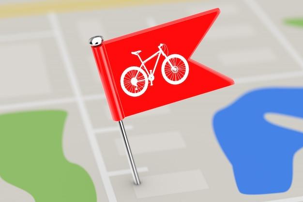 Bandiera rossa dell'indicatore con il segno della pista ciclabile sul primo piano estremo del fondo della mappa. rendering 3d