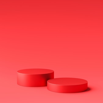 Display prodotto rosso o podio stand su sfondo rosso. piedistallo moderno per il design. rendering 3d.