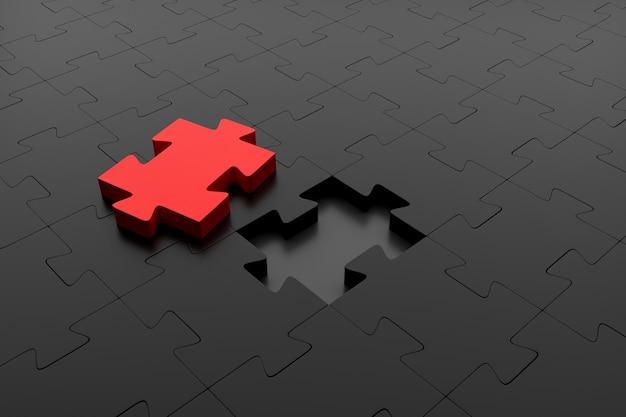 Pezzo di puzzle rosso pronto per essere inserito in un puzzle scuro. co. rendering 3d