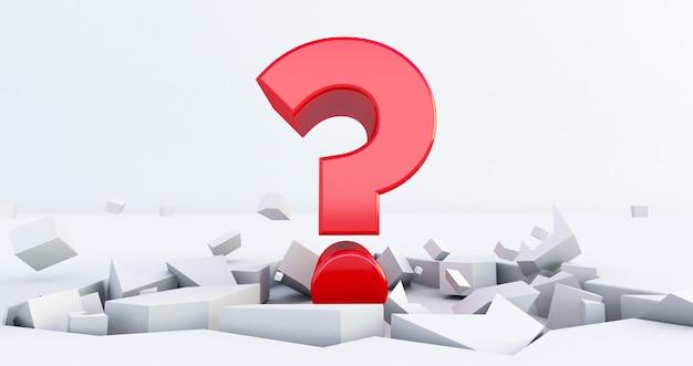 Punto interrogativo rosso su un pavimento incrinato, domanda in un terreno incrinato