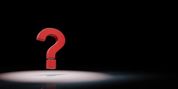 Punto interrogativo rosso sotto i riflettori isolato
